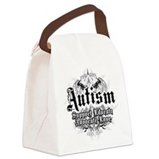 Autism-Tribal-2WHT.png Canvas Lunch Bag