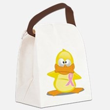 Pink Ribbon Duck Canvas Lunch Bag