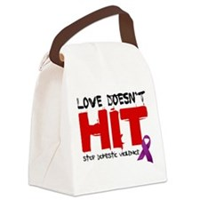 Love Doesnt HitWht.png Canvas Lunch Bag