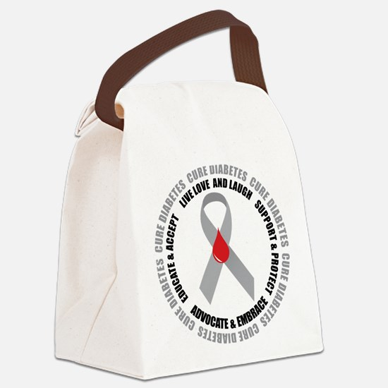 Diabetes-circle-wht.png Canvas Lunch Bag