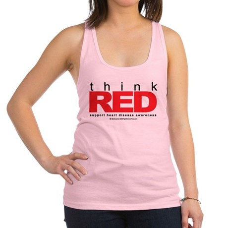 Heart-Disease-THINK-Red.png Racerback Tank Top