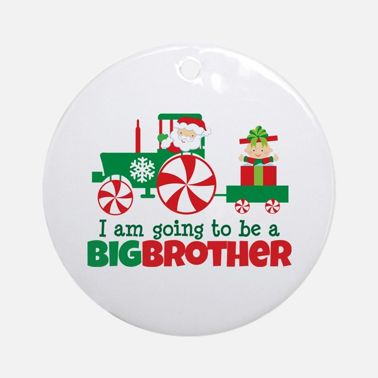 Santa Tractor Big Brother To Be Ornament (Round)