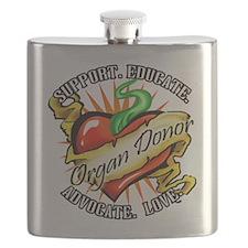 Organ Donor Heart Tattoo Flask