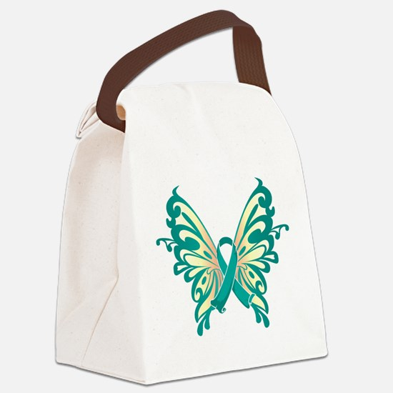 Teal-Butterfly-2009.png Canvas Lunch Bag
