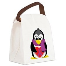 Purple-Ribbon-Penguin-Scarf.png Canvas Lunch Bag