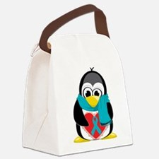 Teal-Ribbon-Penguin-Scarf.png Canvas Lunch Bag