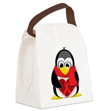 Red-Ribbon-Penguin-Scarf.png Canvas Lunch Bag