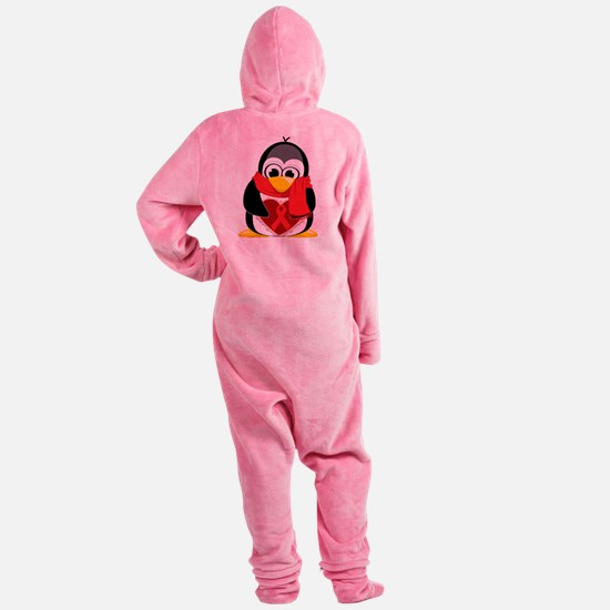 Red-Ribbon-Penguin-Scarf.png Footed Pajamas