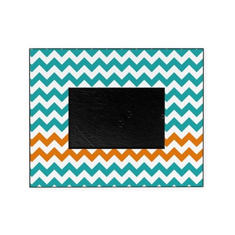 Chevron Stripes - Turquoise and Orange Picture Fra