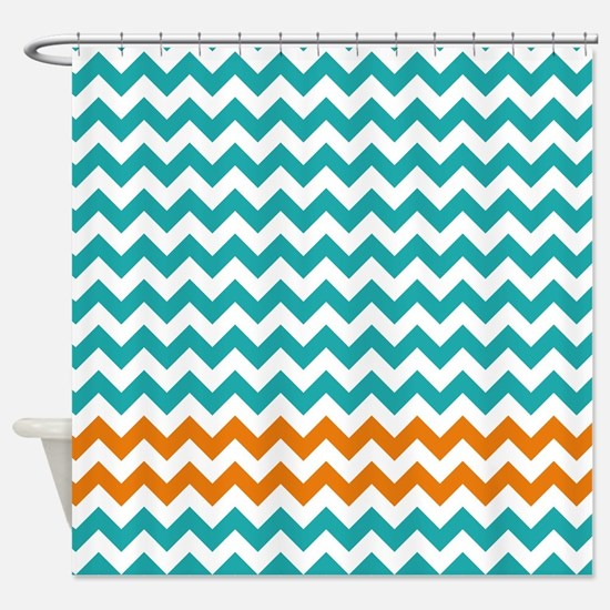 Chevron Stripes - Turquoise and Orange Shower Curt