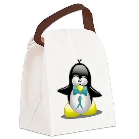 Tourette's Ribbon Penguin Canvas Lunch Bag