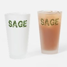 Sage, Vintage Camo, Drinking Glass