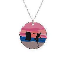 Colorguard Dancer at Sunset Necklace Circle Charm