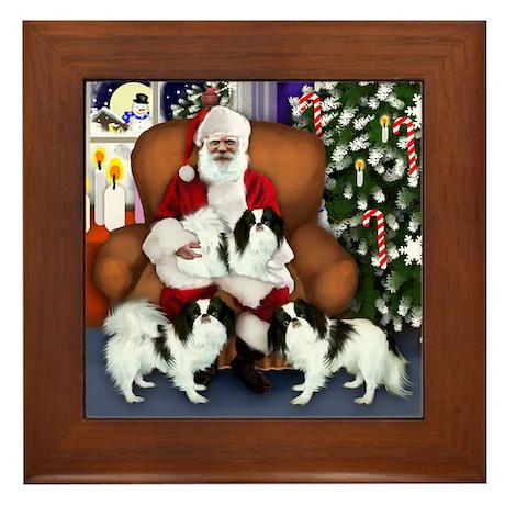 Japanese Chin Dogs Santa Framed Tile