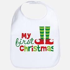 Elf Feet Babies 1st Christmas Bib