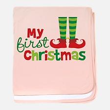 Elf Feet Babies 1st Christmas baby blanket