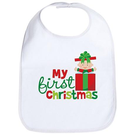Baby in Present Babies 1st Christmas Bib