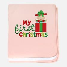 Baby in Present Babies 1st Christmas baby blanket