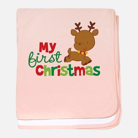 Santa Reindeer Babies 1st Christmas baby blanket
