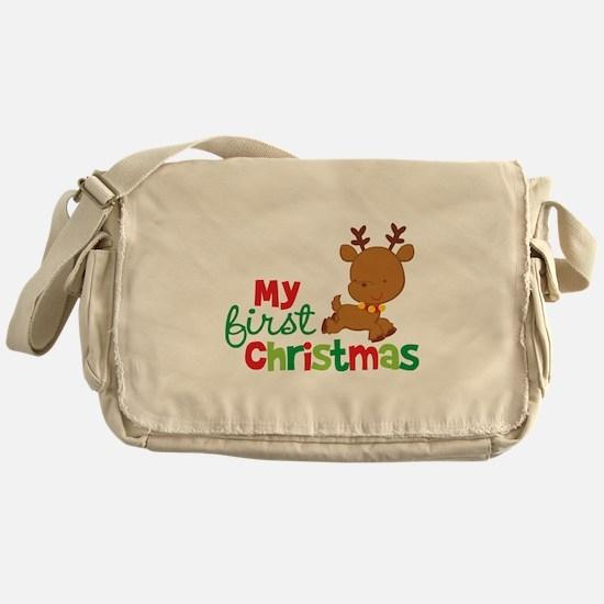Santa Reindeer Babies 1st Christmas Messenger Bag
