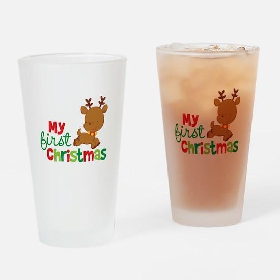 Santa Reindeer Babies 1st Christmas Drinking Glass
