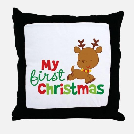 Santa Reindeer Babies 1st Christmas Throw Pillow