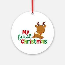 Santa Reindeer Babies 1st Christmas Ornament (Roun