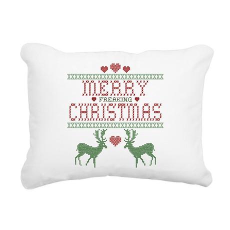 Cross Stitch Christmas Rectangular Canvas Pillow