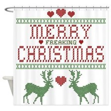 Cross Stitch Christmas Shower Curtain
