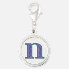 N Blue Glass Silver Round Charm