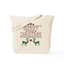 Cross Stitch Christmas Tote Bag