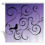 Black Bird Swirl Design Shower Curtain