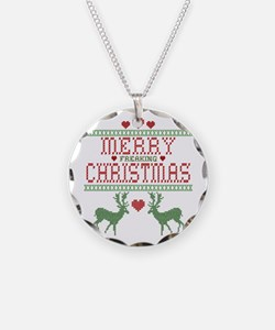 Cross Stitch Christmas Necklace