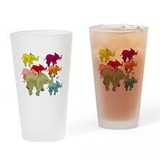 Elephant Herd Drinking Glass