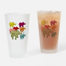 Elephant Herd Drinking Glass