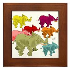 Elephant Herd Framed Tile