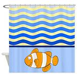 Cartoon Clown Fish With Waves Shower Curtain