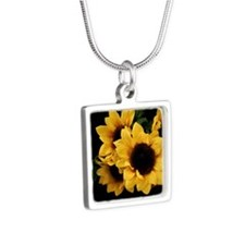 Yellow Sunflower Silver Square Necklace