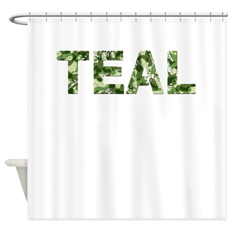 Teal Vintage Camo Shower Curtain By TheCafeMarket