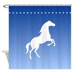 White Horse Silhouette Shower Curtain