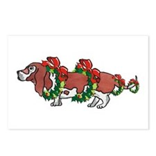 Basset in Wreaths Postcards (Package of 8)