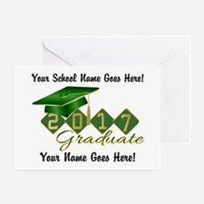 Graduate 2017 Green Gold Greeting Cards
