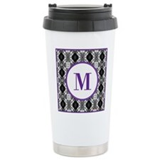 Diamond Purple Monogram Travel Mug