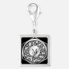 Personalized monogram ornate silver and black Silv