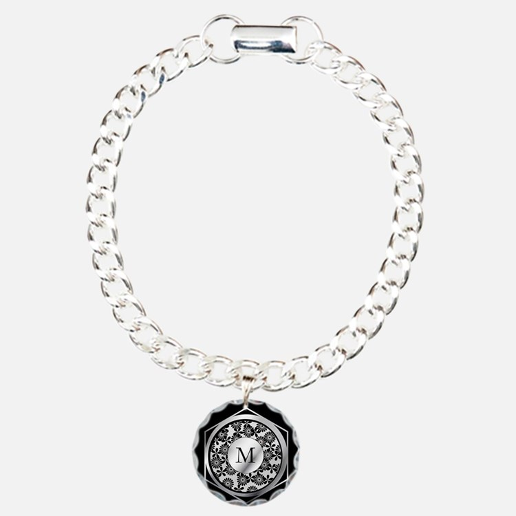 Personalized monogram ornate silver and black Char
