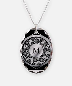 Personalized monogram ornate silver and black Neck