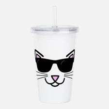 Cool Cat Wearing Sungl Acrylic Double-wall Tumbler