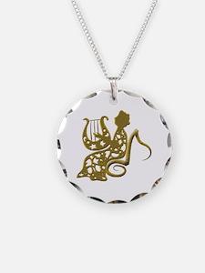 Harpist Necklace Circle Charm