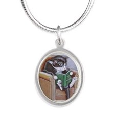 Reading Cat Silver Oval Necklace