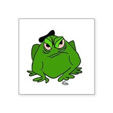 """Frog with Beret Square Sticker 3"""" x 3"""""""